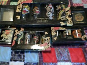 DON ED HARDY LOT GLASSES AND FLASKS  NEW IN BOX