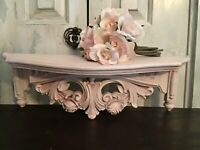 Shabby Finish Homco Wall Shelf / Bed Crown w/ Roses