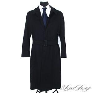 #1 MENSWEAR Giorgio Armani Classico Cashmere Blend Midnight Belted Coat 46 NR