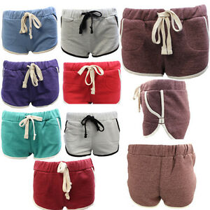 Womens Ladies Fleece Casual Shorts Activewear Pants with Contrast Drawstring