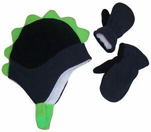 NICE CAPS Boys Toddler Baby Fleece Dino Hat and Mitten Winter Snow Headwear Set