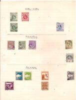 4 old HONG KONG + 5 old MAURITIUS + 6 old PALESTINE stamps on an album page.