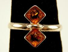 925 STERLING SILVER GENUINE BALTIC AMBER 2 SQUARE RING SIZE 5.75 RT4