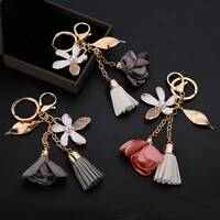 Cloth Flower Chiffon Tassel Car Key Chains Key Ring Bag Ornaments Charm