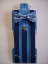 Countess Mara Bow Tie Suspender Set Mens Adjustable Blue Silvertone Holiday NWT