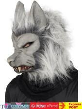 Smiffy's Werewolf Mask With Hair - Halloween Fancy Dress Accessory Adult Grey