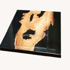 Black Epoxy Resin Wooden Dining Custom Table Top Handmade Decorative Furniture
