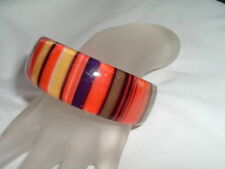 VINTAGE COLORFUL STRIPED LUCITE WIDE BANGLE BRACELET IN GIFT BOX