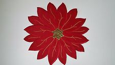 "New Poinsettia Christmas Placemat Two Pcs. Set 17"" Round  shaped, RED OR GOLD"