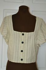 Zara trf Collection Women's Size M Cream Top with Butterfly Sleeves BNWT