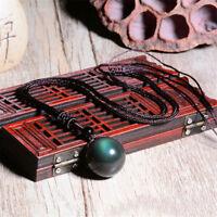 Natural Black Obsidian Necklace Pendant Stone Rainbow Eye Bead Ball Jian