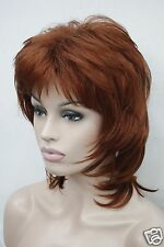 elegant medium fox red layered natural wavy synthetic hair 40cm long full wig