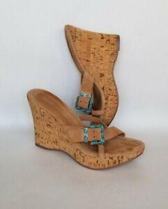 Bebe Wedge Platform  Flip Flops Sandals Women Size 7M turquoise buckle