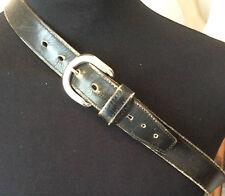 """vintage trashed black leather 1.25"""" wide jeans belt chromed buckle 32-34"""""""