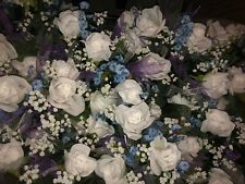 "Grave Pillow 36""L x 24""W White Roses Blue Sprigs White Purple Tulle Babys Breath"