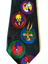 """LOONEY TUNES TIE Black All Characters Bugs Bunny Porky Sylvester  Daffy Duck 58"""""""