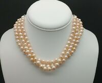Genuine Pearl Choker Necklace Triple Strand  With Earrings Solid 925 Adjustable