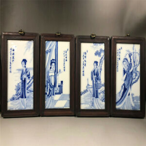 Chinese antique porcelain handicraft blue and white porcelain plate painting