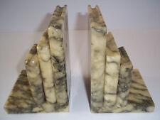 Vintage Genuine Alabaster Book Ends - Hand Carved - Made In Italy - Excellent