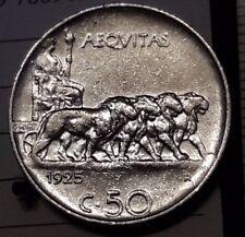 Regno d'Italia V.E.III 50 centesimi 1925 rigato Leoni