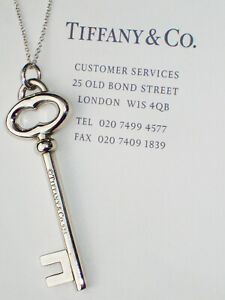 """Tiffany & Co Sterling Silver Heavy Vintage Oval Large 2"""" KEY 30"""" Chain Necklace"""