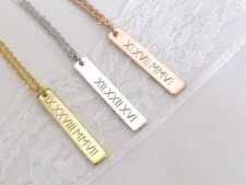 Roman Numeral Vertical Bar Necklace – Gold, Silver or Rose Gold Bar Necklace