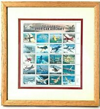 SUPERB 2 GLASS SIDED FRAMED CLASSIC AMERICAN AIRCRAFT STAMPS PROOF BY MARK HESS