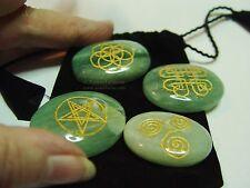 CELTIC SYMBOLS ON GREEN AVENTURINE GEMSTONE  SET - Wicca Witch Pagan Goth Yoga