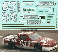 NASCAR DECAL #63 NESCAFE 1992 BGN PONTIAC GRAND PRIX CHUCK BOWN  JNJ