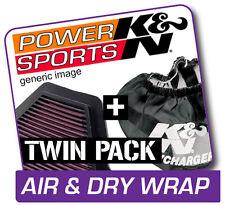 K&N Air Filter & Dry Wrap YAMAHA YFM660R Raptor 2001-2005  Repels Mud & Water!