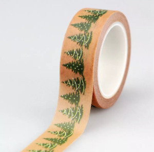 Christmas tree washi,10m roll, adhesive craft tape, brown paper decorative tape.