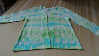 Chicos Sheer Cardigan Size 0 - small (4-6)  3/4 Sleeves -open front - blue/green