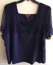 JESSICA LONDON TOP SIZE: 26/28 SHORT SLEEVES WITH LACE BLOUSE NEW