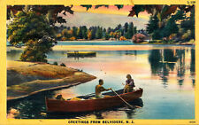 GREETINGS FROM BELVIDERE, N.J. NEW JERSEY. MAN & WOMEN IN ROWBOAT. LAKE