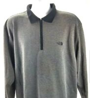 The North Face Long Sleeve Mens L Golf Polo Shirt Grey Collar 1/4 Zip Tekware