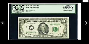 CHICAGO GEM 65 Fr. 2164-G $100 1969 Federal Reserve Note. PCGS Gem New 65PPQ.