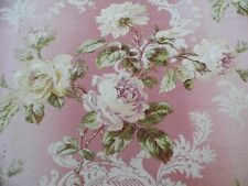 """French Victorian Roses & Scroll Home Dec Fabric On Pink Ground c1870-80~2yLX31""""W"""