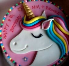 Unicorn cake topper Commestibile Personalizzato Decorazione Set Rainbow Fondente CORNO NOME