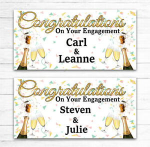 2 PERSONALISED ENGAGEMENT PARTY BANNERS CELEBRATION PARTY ANY NAMES