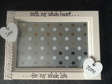 Wedding Engagement Personalised Photo Frame Mr and Mrs Wooden Hearts 5 x 7