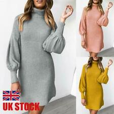 UK Womens Turtleneck Sweater Dress Ladies Long Sleeve Jumper Mini Dresses 10-16