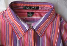 RALPH LAUREN Womens Black Label Purple Pink Red Orange Striped Shirt Size Large