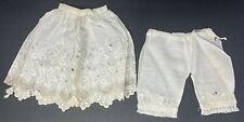 Vintage Victorian Doll Petticoat Skirt Half Slip & Matching Pantaloons w Eyelets