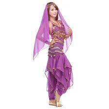 Belly Dance Costume Set Bra Top & Tribal Gold Wavy Harem Pants Skirt Belt NEW