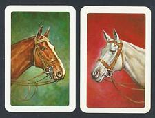 #150.263 vintage swap card -NEAR MINT pair- Bridled horse heads on red & green