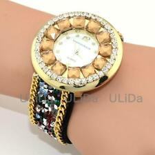 5 Colors Round Crystal Dial Sweet Women Lady Snap Fastener Bracelet Quartz Watch