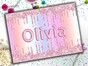 Personalised Name Balloon Letters Rainbow A4 Laminated Kids Placemat Childrens