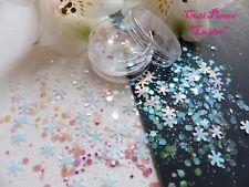 NAIL Art grosso * lustro * Natale traslucido fiocco di neve Hex Mix glitter Spangle Pot