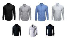 Camicia Uomo Bianca Blu Nera Slim Fit/CLASSICA Manica Lunga Cotone S M L XL XXL-