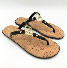 MICHAEL KORS Cork Sandals MK Logo charm Jelly SZ 7-10 PVC Thong gold black